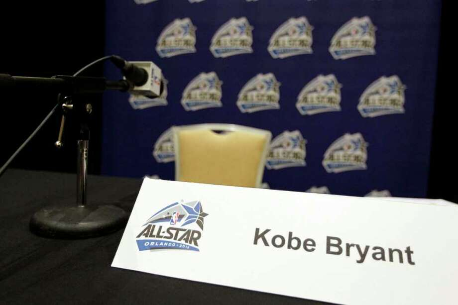 Los Angeles Lakers' Kobe Bryan seat remains vacant after he did not show up for an NBA All Star basketball player news conference, Friday, Feb. 24, 2012, in Orlando, Fla. The NBA All Star game will be played in Orlando on Sunday. (AP Photo/Chris O'Meara) Photo: Associated Press