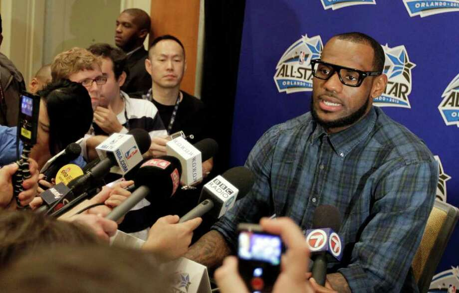 Miami Heat's LeBron James speaks during an NBA All Star basketball player news conference, Friday, Feb. 24, 2012 in Orlando, Fla. The NBA All Star game will be played in Orlando on Sunday. (AP Photo/Chris O'Meara) Photo: Associated Press