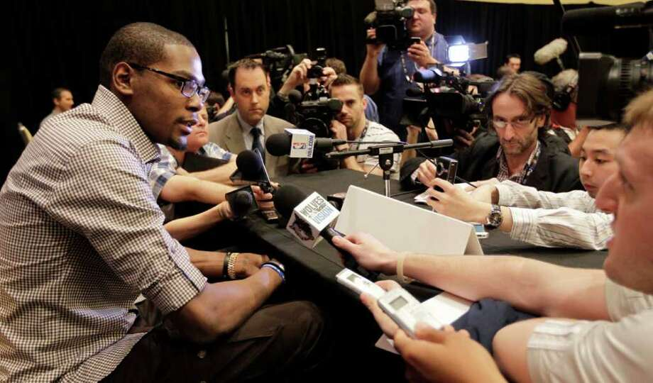 Oklahoma City's Kevin Durant speaks during an NBA All Star basketball player news conference, Friday, Feb. 24, 2012, in Orlando, Fla. The NBA All Star game will be played in Orlando on Sunday. (AP Photo/Chris O'Meara) Photo: Associated Press