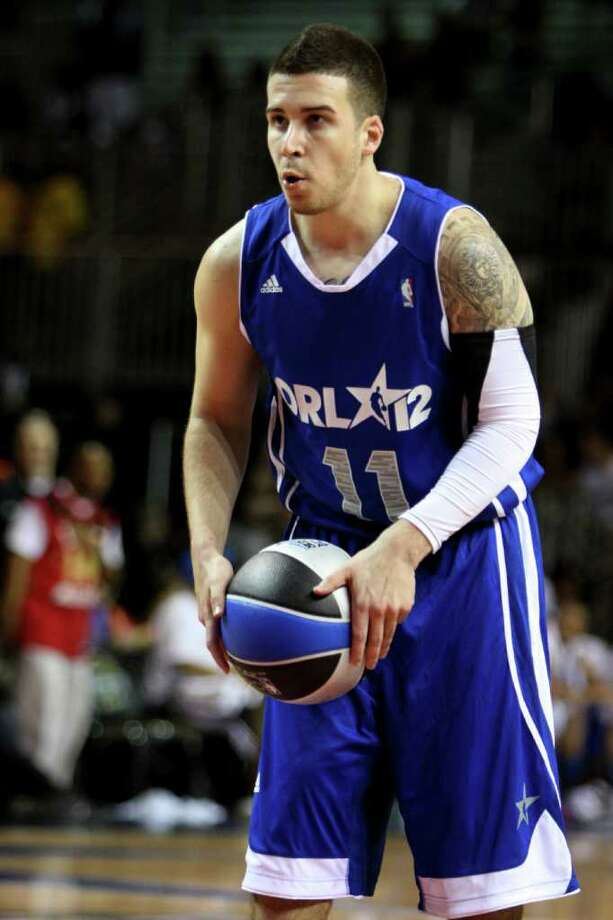 Television personality Vinny Guadagnino prepares to shoot a free throw during the NBA All-Star celebrity basketball game, Friday, Feb. 24, 2012, in Orlando, Fla. (AP Photo/Lynne Sladky) Photo: Associated Press