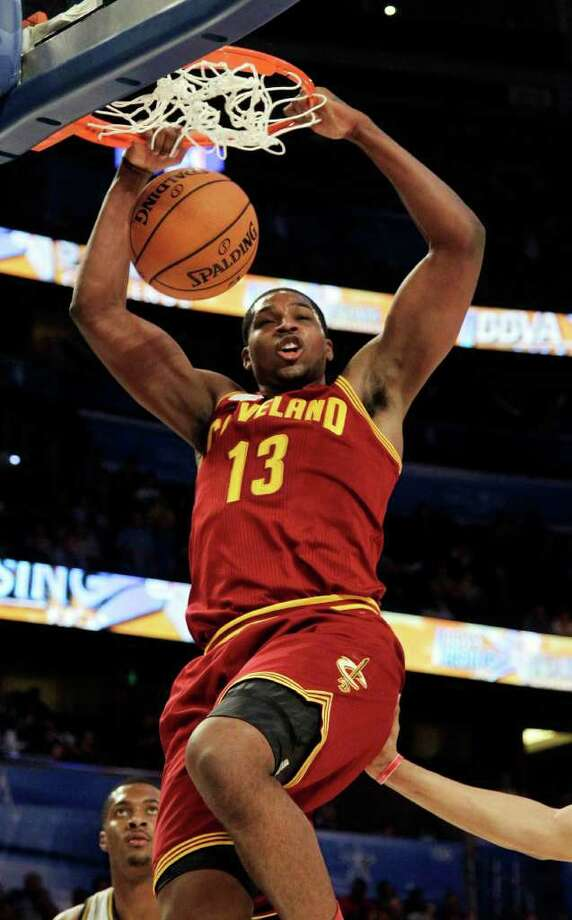 Cleveland Cavaliers' Tristan Thompson (13), of Team Shaq, dunks the ball during the NBA All-Star Rising Stars Challenge basketball game in Orlando, Fla. Friday, Feb. 24, 2012. (AP Photo/Chris O'Meara) Photo: Associated Press