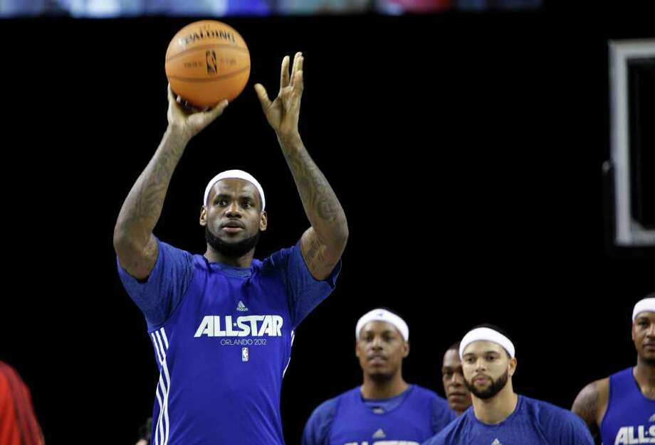 Miami Heat's LeBron James shoots during practice for the NBA All Star basketball game, Saturday, Feb. 25, 2012, in Orlando, Fla. (AP Photo/Lynne Sladky) Photo: Associated Press