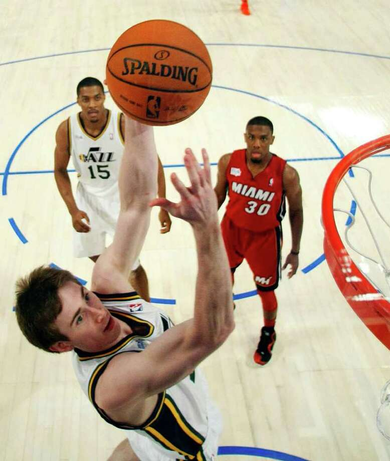 Utah Jazz's Gordon Hayward drives to the basket during the NBA All-Star Rising Stars Challenge basketball game in Orlando, Fla. Friday, Feb. 24, 2012. (AP Photo/Chris O'Meara, Pool) Photo: Associated Press
