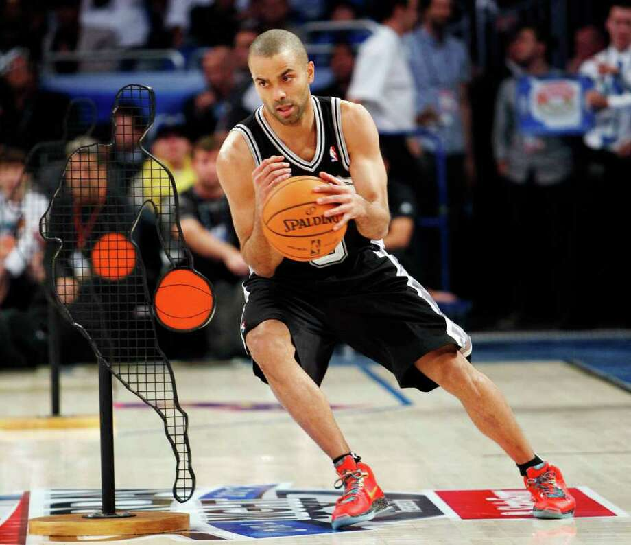 San Antonio Spurs' Tony Parker (9) participates in the NBA All-Star Skills Challenge basketball competition in Orlando, Fla., Saturday, Feb. 25, 2012. Parker won the event. (AP Photo/Lynne Sladky) Photo: Associated Press