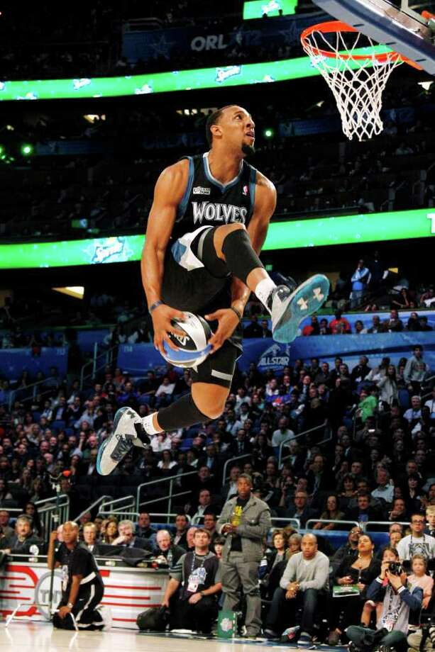 Minnesota Timberwolves' Derrick Williams performs his attempt during the NBA basketball All-Star Slam Dunk contest, Saturday, Feb. 25, 2012, in Orlando, Fla. (AP Photo/Lynne Sladky) Photo: Associated Press