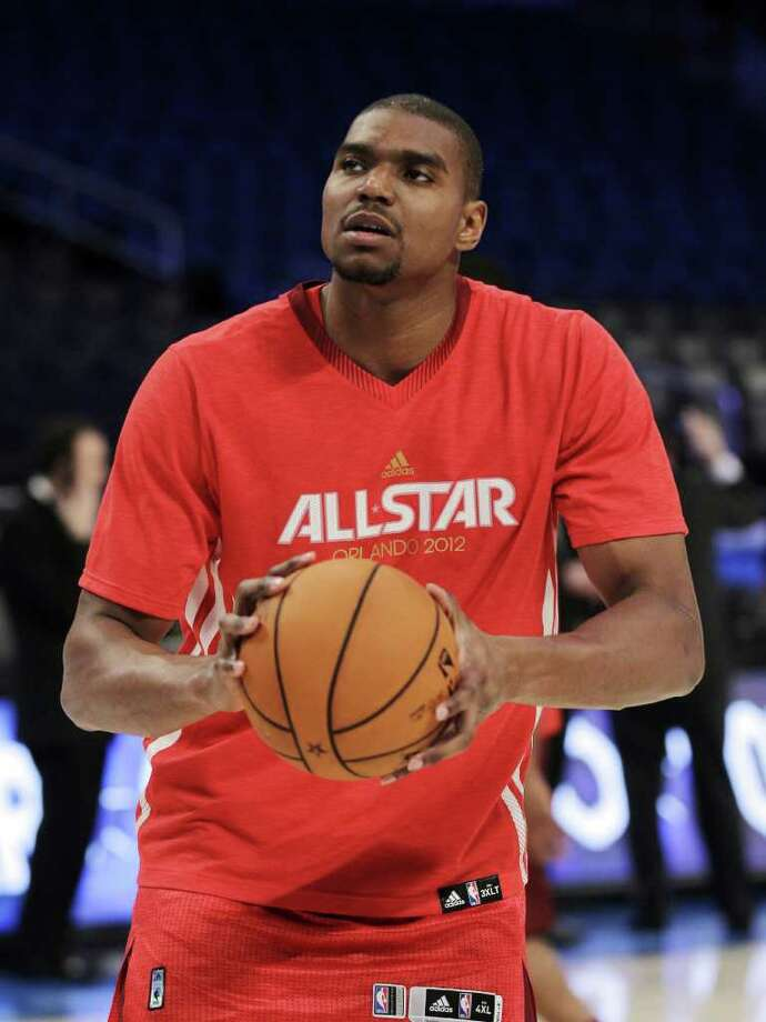 Western Conference's Andrew Bynum, of the Los Angeles Lakers, warms up before the NBA All-Star basketball game, Sunday, Feb. 26, 2012, in Orlando, Fla.  (AP Photo/Chris O'Meara) Photo: Associated Press