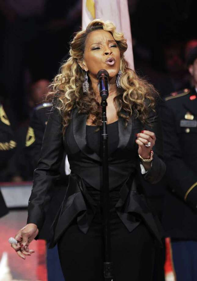 Mary J. Blige sings the U.S. national anthem before the NBA All-Star basketball game, Sunday, Feb. 26, 2012 in Orlando, Fla. (AP Photo/Chris O'Meara) Photo: Associated Press