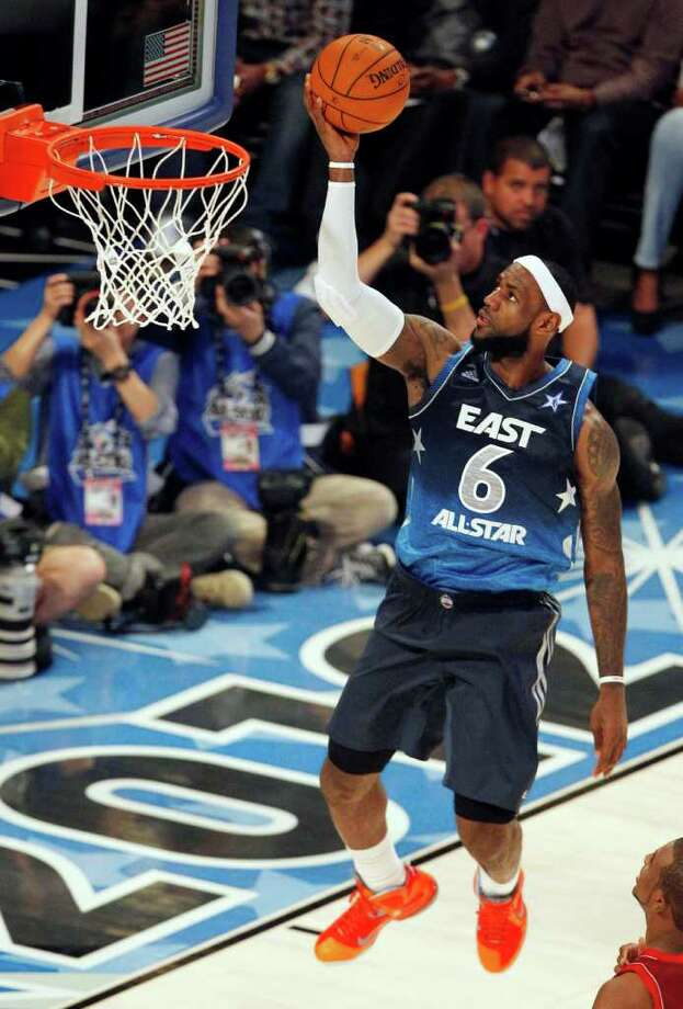 Eastern Conference's LeBron James (6), of the Miami Heat, shoots during the first half of the NBA All-Star basketball game, Sunday, Feb. 26, 2012, in Orlando, Fla. (AP Photo/Lynne Sladky) Photo: Associated Press