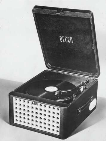Here's a portable record player from around 1955. Photo: Hulton Archive, Getty Images / Hulton Archive