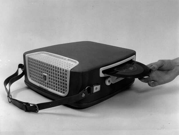 This portable Philips portable record player is shown on May 21, 1958. Photo: Bert Hardy, Getty Images / Hulton Archive