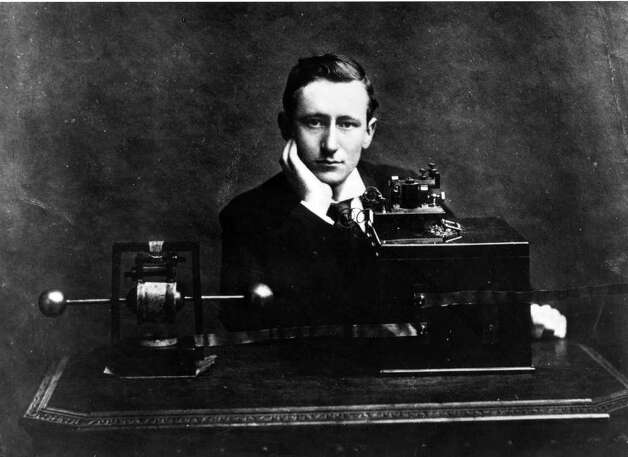 Italian electrical engineer Guglielmo Marconi won the 1909 Nobel Prize in Physics for his work developing the radio in the 1890s and early 1900s. This picture shows Marconi with his wireless apparatus in England in 1896, the year he was granted the world's first patent for a system of wireless telegraphy. Photo: Hulton Archive, Getty Images / Hulton Archive