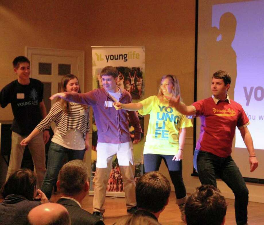 A Young Life humor skit takes place with students Bradley Cage, Emily Reesor and Ian Crane and Young Life volunteer leaders Kristin Neike and Charles Berlepsch. Photo: Contributed Photo