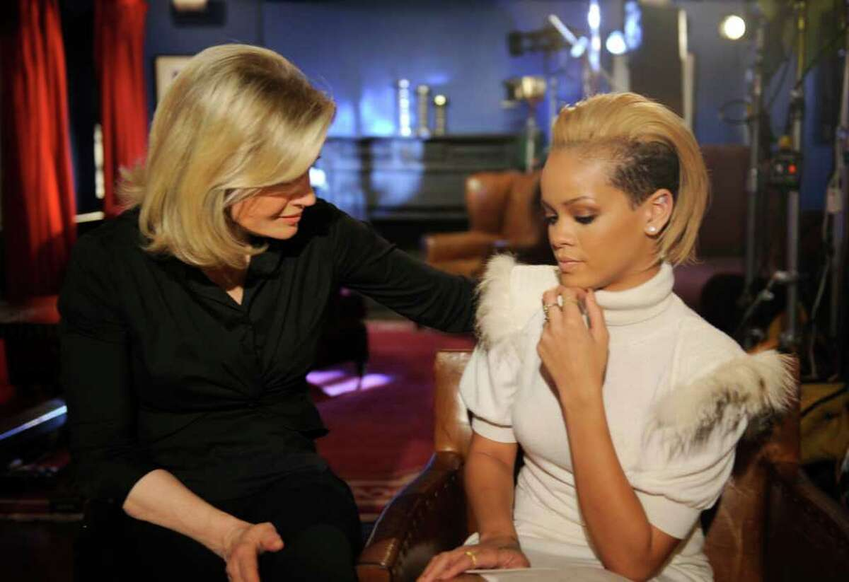 Diane Sawyer (left) interviews singer Rihanna about her relationship with ex-boyfriend Chris Brown in New York. The interview aired on the morning program