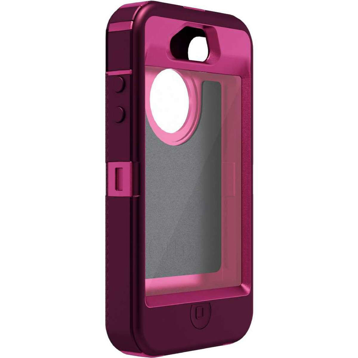 iPhone 4/4S Defender Series case by OtterBox. (side view) Color: Peony Pink PC / Deep Plum Slip Cover