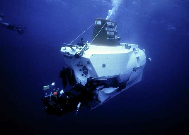 Alvin, a 48-year-old deep submersible research craft that can carry people 2.8 miles below the ocean's surface, is being retrofitted with a tougher new hull designed and built by Southwest Research Institute, which will allow the Navy owned, civilian operated craft to reach a depth of four miles, capable of exploring 99 percent of the ocean floor.   COURTESY Woods Hole Oceanographic Institution