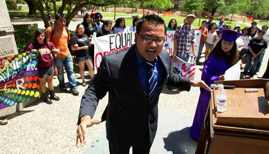Texas A&M student Jose Luis Zelaya, a native of Honduras, speaks during a demonstration in support of legalizing undocumented students on the campus of Texas A&M University Friday, April 15, 2011, in College Station. Photo: Brett Coomer, Houston Chronicle / Houston Chronicle