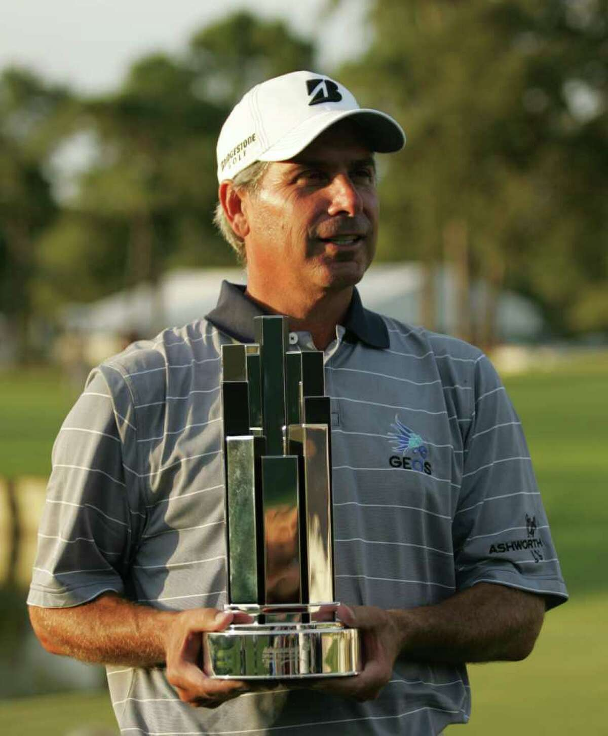 Fred Couples with the Administaff Small Business Classic following his victory on Sunday at the Tornament Corse in The Woodlands.
