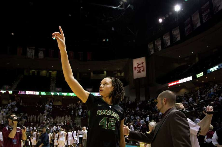 Baylor center Brittney Griner celebrates following  the Lady Bears 69-62 victory over Texas A&M in a NCAA women's basketball game at Reed Arena on Monday, Feb. 27, 2012, in College Station. Photo: Smiley N. Pool, Houston Chronicle / © 2012  Houston Chronicle