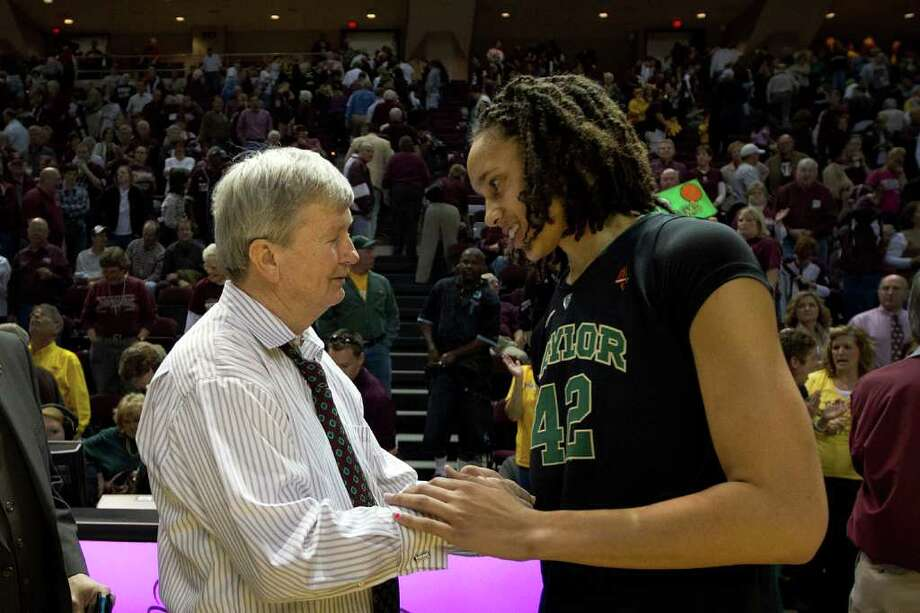 Baylor center Brittney Griner shakes hands with Texas A&M head coach Gary Blair after the Lady Bears 69-62 victory in a NCAA women's basketball game at Reed Arena on Monday, Feb. 27, 2012, in College Station. Photo: Smiley N. Pool, Houston Chronicle / © 2012  Houston Chronicle