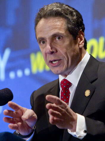 New York Gov. Andrew Cuomo speaks to the New York Conference of Mayors in Albany, N.Y., on Monday, Feb. 27, 2012. (AP Photo/Mike Groll)