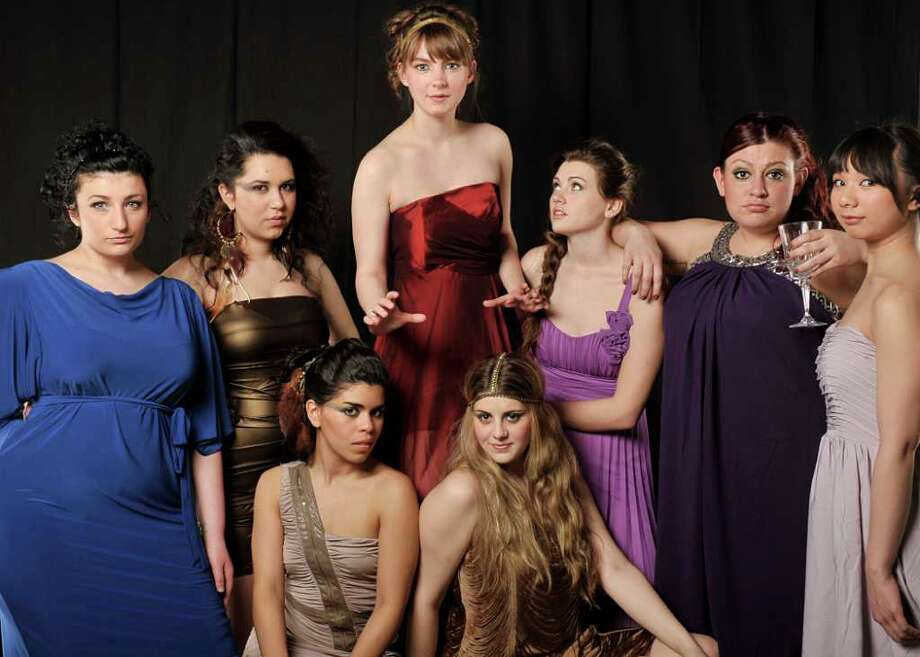 Western Connecticut State University in Danbury has the 411 on the battle of the sexes with its stage adaptation of âÄúLysistrata.âÄù Cast members are pictured left to right. In the front row: Keila Fontanez of Peekskill, N.Y. and Dana Clark of Darien. Back: Amy Bentley of East Lyme, Alexis Willoughby of Gaylordsville, Aline OâÄôConnor of Colchester, Brianna Bagley of Stafford Springs, Casey Perruzzi of Stratford, and Katrina Abreu of Stamford. Photo: Contributed Photo/Peggy Stewart, Contributed Photo