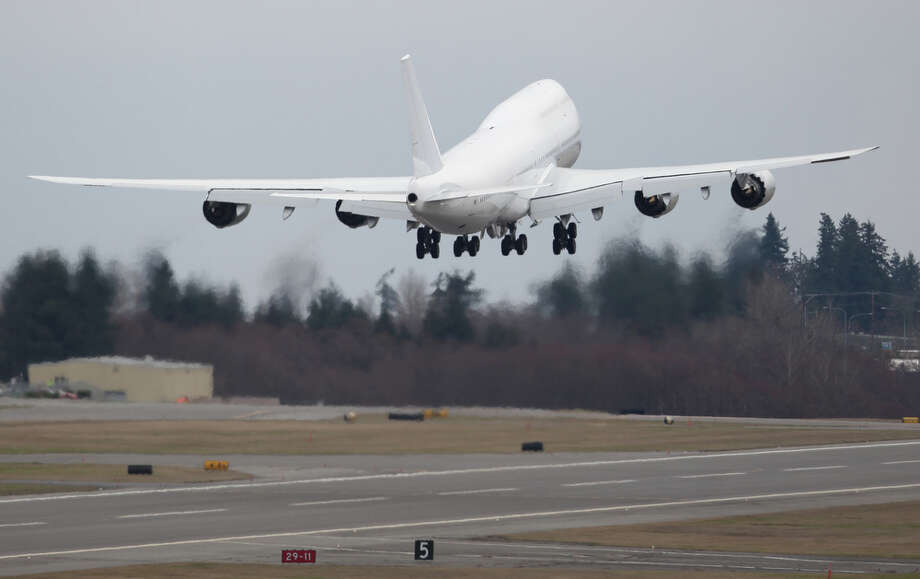 The first delivered 747-8 Intercontinental VIP airplane takes off from Paine Field on Tuesday, February 28, 2012. The first 747-8I was delivered Tuesday to an undisclosed customer. Photo: JOSHUA TRUJILLO / SEATTLEPI.COM