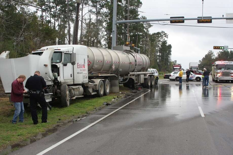 An SUV and an 18-wheeler were involved in a wreck at US 69 and Wheeler Road in Lumberton Tuesday. Photo: David Lisenby/The Enterprise