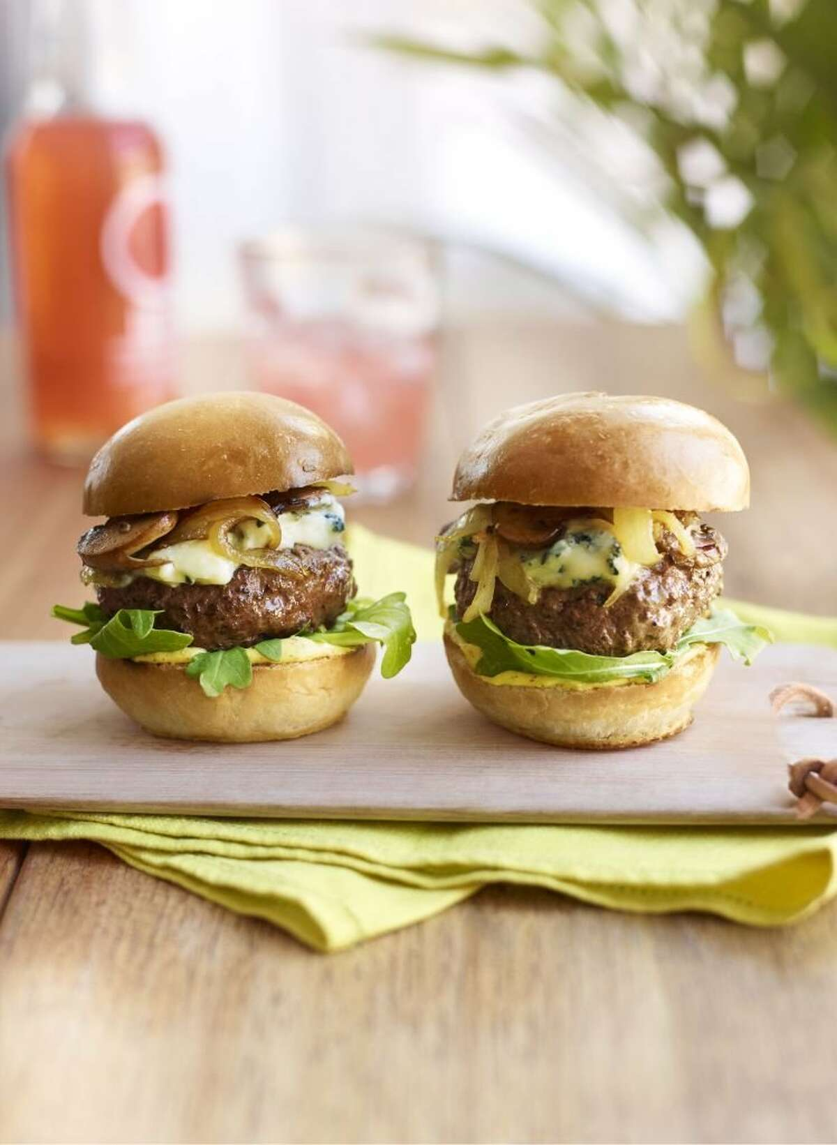 Delish0229: Redbook recipe for Steak-House Sliders with Mushrooms and Blue Cheese. PHOTO