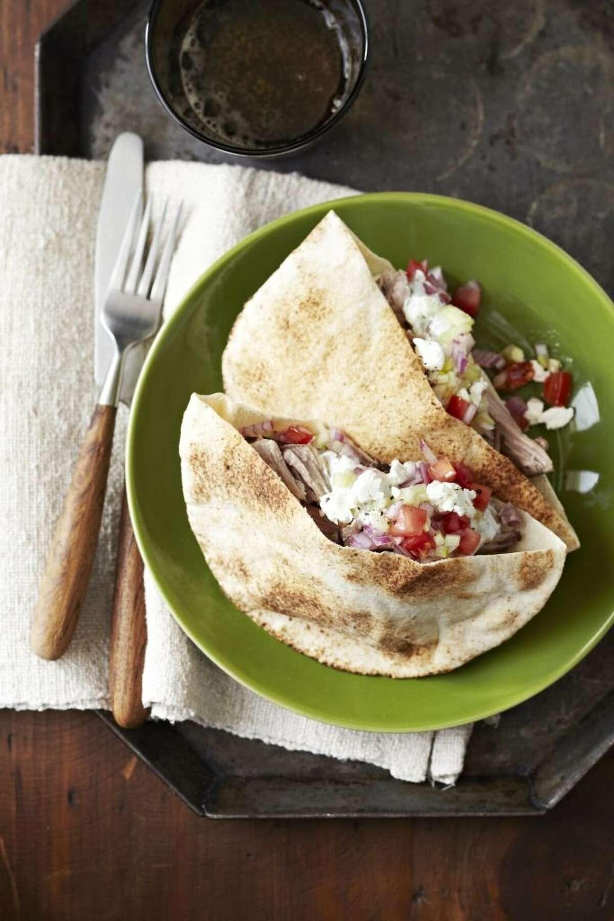 Delish0229: Good Housekeeping recipe for Turkey Pitas with Cucumber Salad.