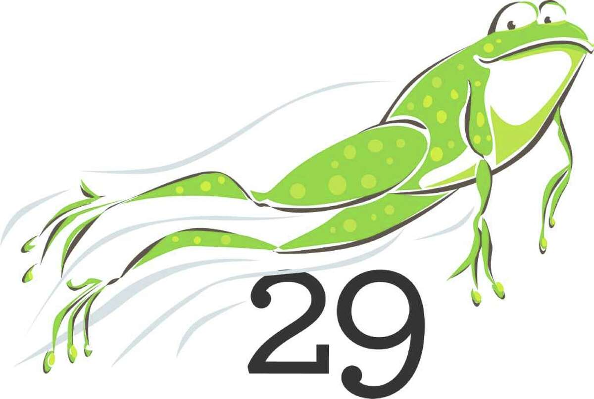 Illustration of frog leaping through air over a 29, for Leap Year