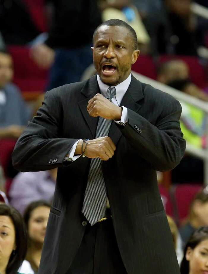 Head coach Dwane Casey of the Toronto Raptors signals a play against the Houston Rockets on Tuesday, February 28, 2012, in Houston, Texas. (George Bridges/MCT) Photo: George Bridges, McClatchy-Tribune News Service / MCT