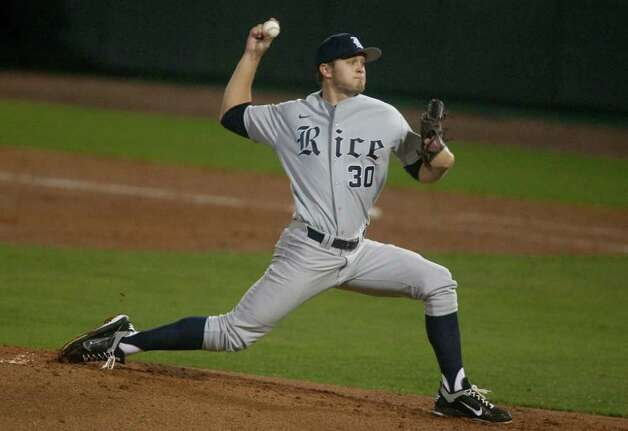 Rice pitcher Andrew Benak (30) was the starter for their 4-1 victory over the University of Houston during a NCAA college baseball game at Cougar Field on Tuesday February 28, 2012 in Houston, TX. Photo: J. Patric Schneider, For The Chronicle / Houston Chronicle