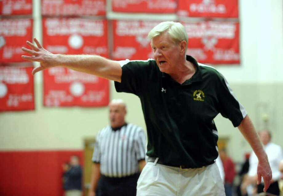 Trinity Catholic Head Coach Mike Walsh during FCIAC Boys' Basketball Semi-final action against Ridgefield in Fairfield, Conn. on Tuesday February 28, 2012. Photo: Christian Abraham / Connecticut Post
