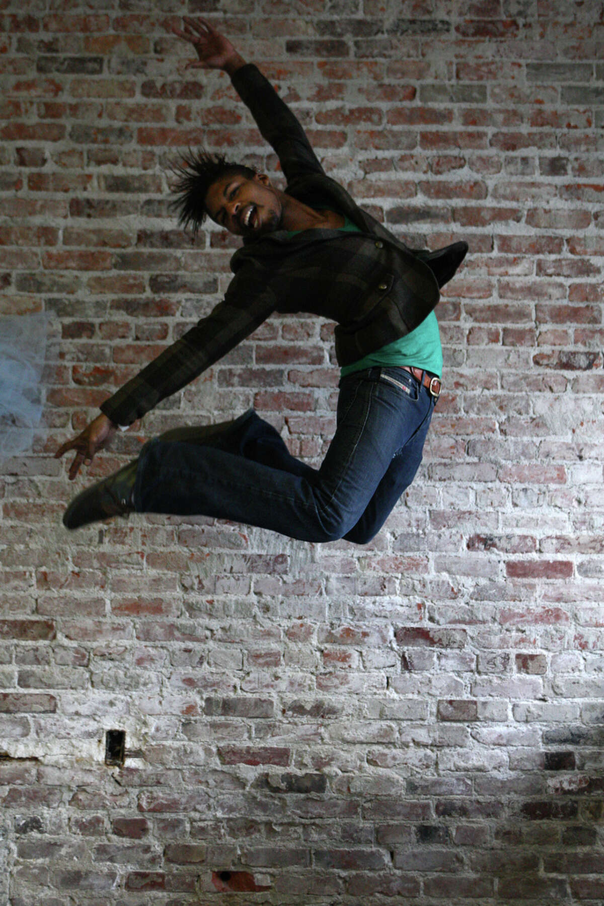 Renado Tozer leaps in honor of Leap Year day on Tuesday, February 28, 2012.