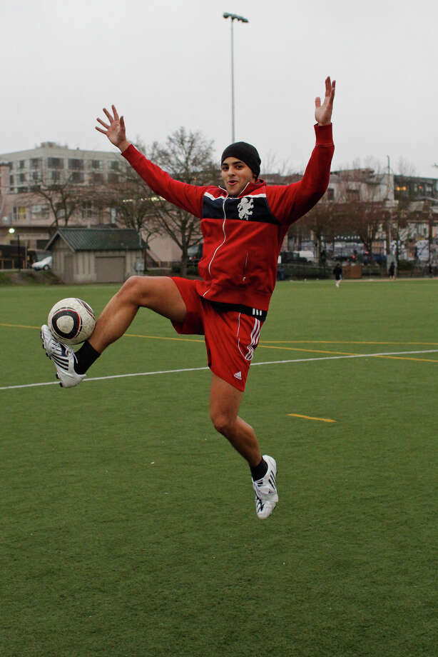 Marcus Warlick demonstrates a soccer leap in celebration of Leap Year day at Cal Anderson Park in Seattle on Tuesday, Feb. 28, 2012. Photo: JOE DYER / SEATTLEPI.COM