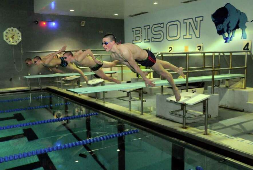 Shaker High School swim team members,left to right, Ryan O'Connor, Tim Buff, Brian Nolte and Thomas