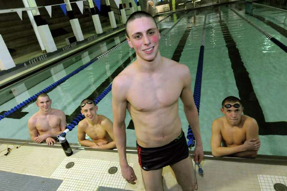 Shaker High School swim team members,left to right, Ryan O'Connor, Tim Buff,Thomas Kearney and Brian Nolte during a practice in Latham, N.Y.Tuesday Feb. 28, 2012.( Michael P. Farrell/Times Union) Photo: Michael P. Farrell