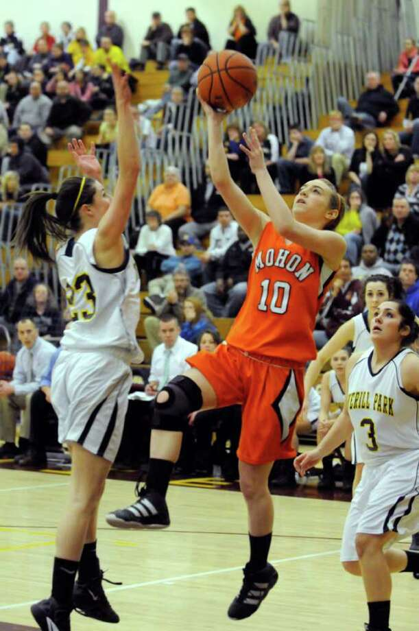 Mohonasen's Sarah McGrath goes in for a score during their Section II Class A girl's high school basketball semfinals  game in Colonie, N.Y. Tuesday Feb.28, 2012.( Michael P. Farrell/Times Union) Photo: Michael P. Farrell