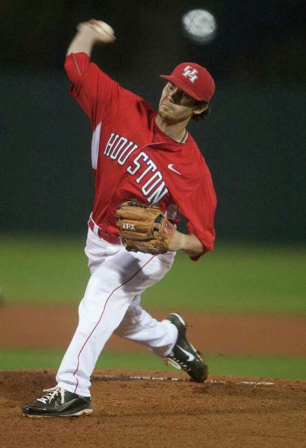 Austin Pruitt took a no-hitter into the seventh inning before allowing a single in a 1-0 victory over Texas State in San Marcos. Photo: J. Patric Schneider, For The Chronicle / Houston Chronicle