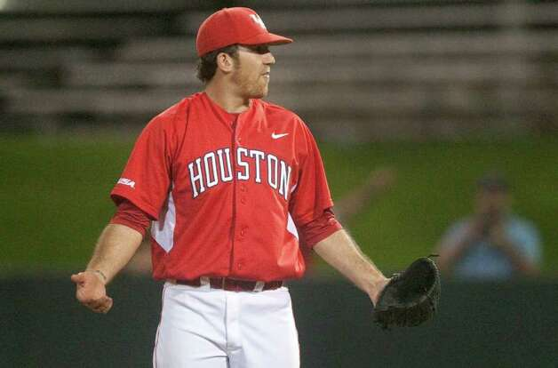 University of Houston pitcher Mo Wiley (33) reacts after he is called for a bock during the eight inning of a NCAA college baseball game against Rice at Cougar Field on Tuesday February 28, 2012 in Houston, TX. Photo: J. Patric Schneider, For The Chronicle / Houston Chronicle