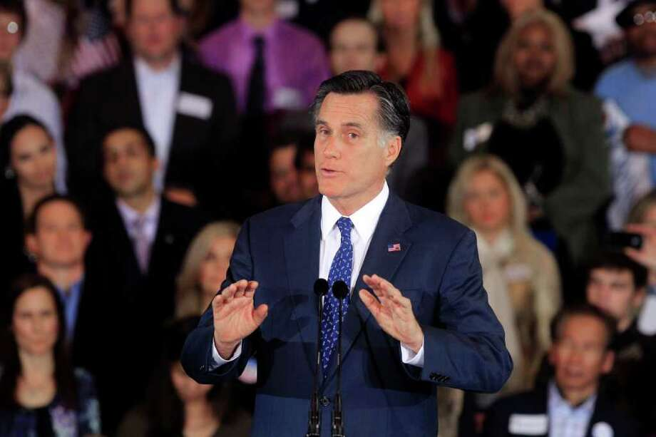Republican presidential candidate, former Massachusetts Gov. Mitt Romney, addresses supporters at his election night party in Novi, Mich., Tuesday, Feb. 28, 2012. (AP Photo/Carlos Osorio) Photo: Carlos Osorio