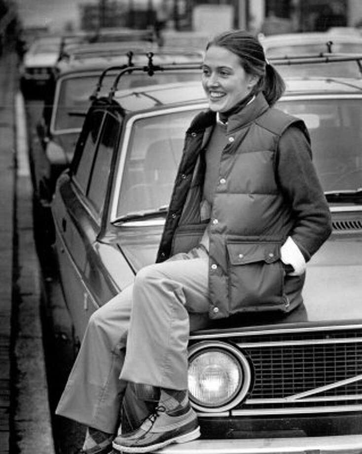 "Called the ""Preppy Look"" from a 1980 photo shoot, this model had clothes from Eddie Bauer and was sitting on a Volvo. Can it be any more Seattle? (seattlepi.com file)"
