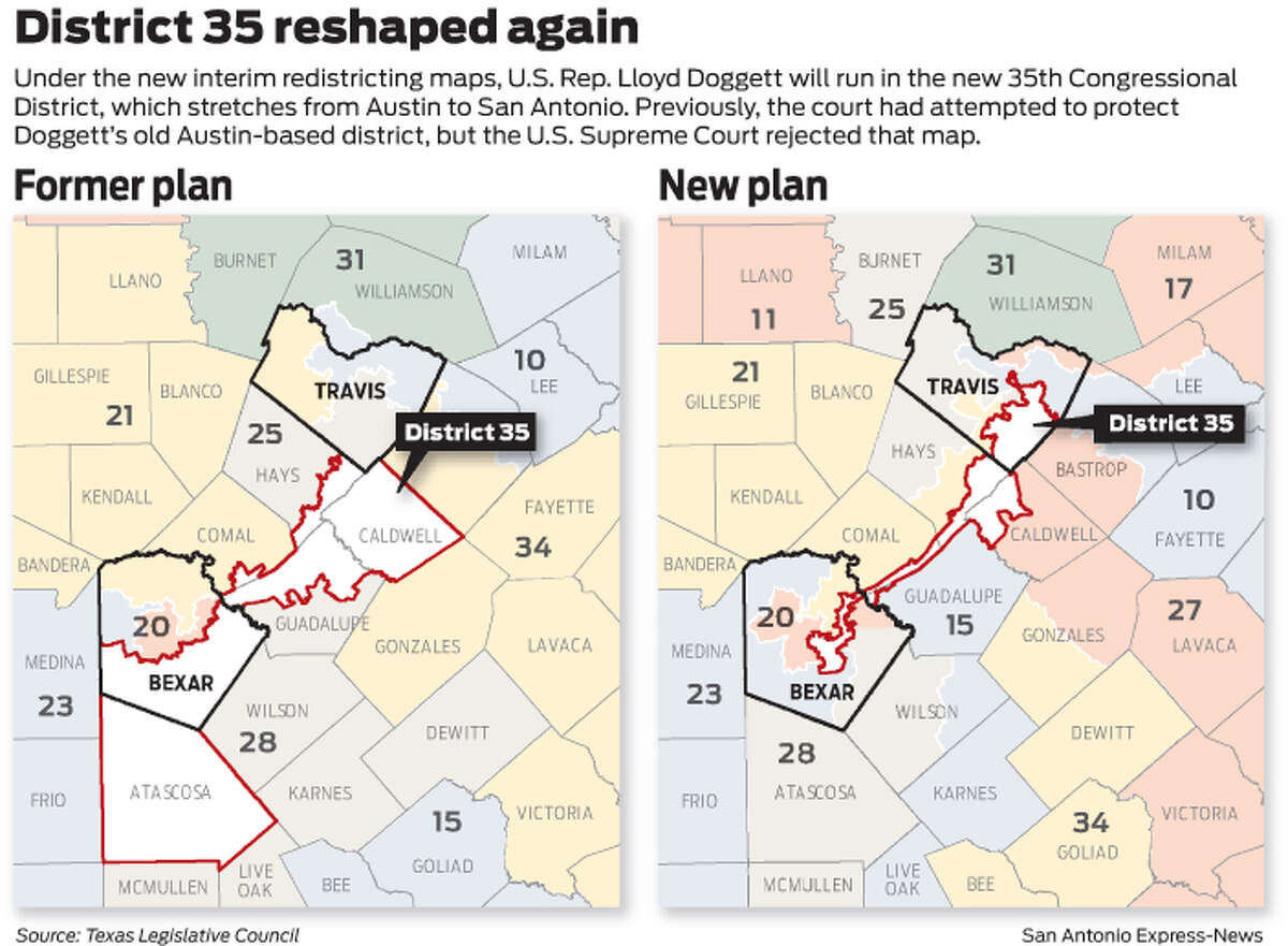 District 35 reshaped again Under the new interim redistricting maps, U.S. Rep. Lloyd Doggett will run in the new 35th Congressional District, which stretches from Austin to San Antonio. Previously, the court had attempted to protect Doggett's old Austin-based district, but the U.S. Supreme Court rejected that map.