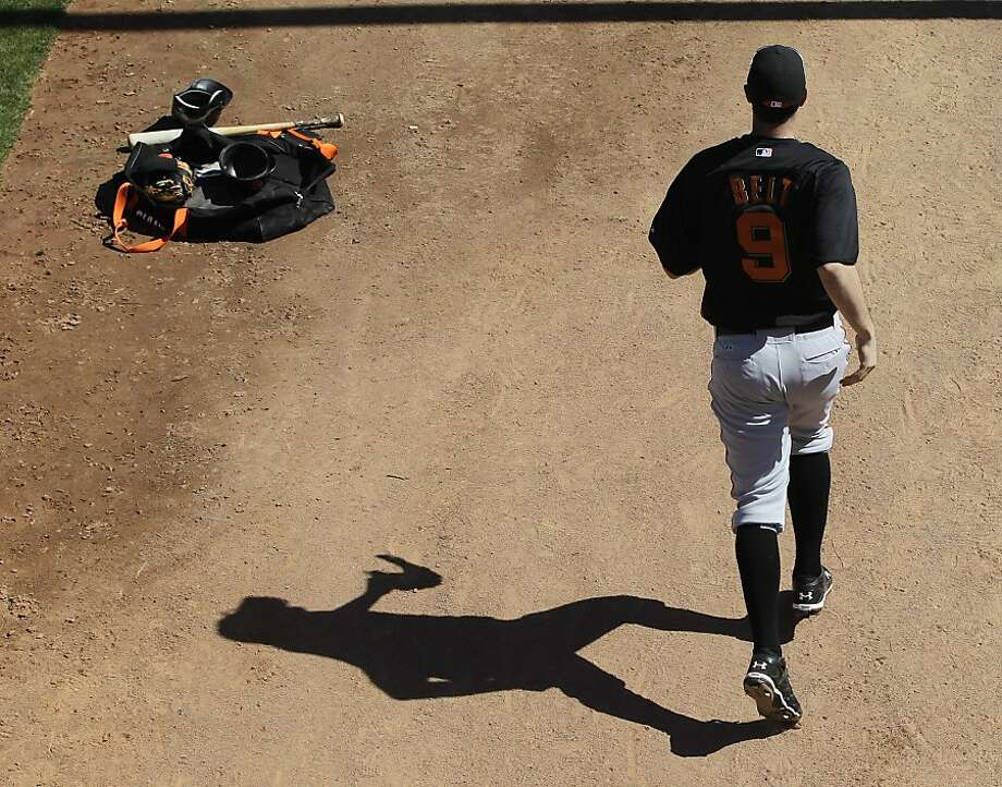 San Francisco Giants' Brandon Belt runs a drill during a spring training baseball workout on Sunday, Feb. 26, 2012, in Scottsdale, Ariz. (AP Photo/Darron Cummings) Photo: Darron Cummings, Associated Press