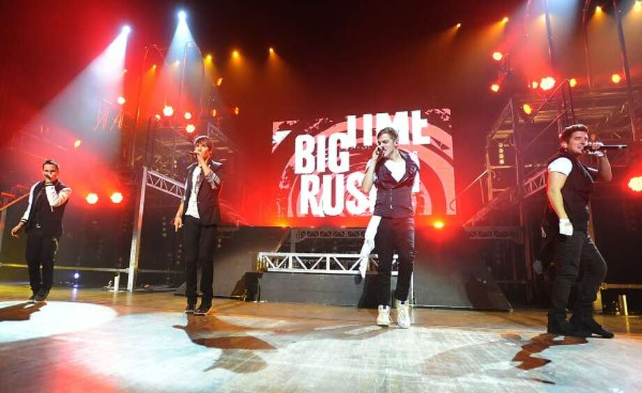 From left, Carlos Pena, Jr., James Maslow, Kendall Schmidt and Logan Henderson of Big Time Rush perform to a sold out audience at the Palace Theatre Tuesday, Feb. 28, 2012 in Albany, N.Y.  (Lori Van Buren / Times Union) (Albany Times Union)