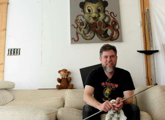 Artist Lloyd Walsh is working on a series of paintings for an exhibit at Flight Gallery for Contemporary Art Month. Helen L. Montoya/San Antonio Express-News Photo: HELEN L. MONTOYA, San Antonio Express-News / ©SAN ANTONIO EXPRESS-NEWS