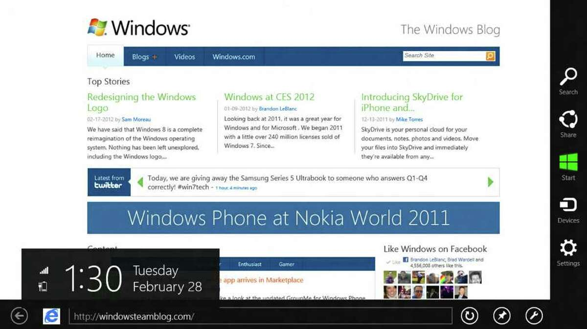 """A Windows 8 screenshot showing the """"charms"""" menu on the right."""