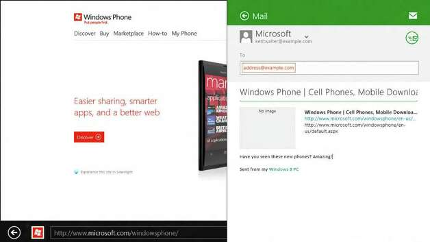 A Windows 8 screenshot showing sharing via charms. Photo: Microsoft