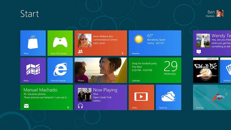 A screenshot of the Windows 8 start screen. Photo: Microsoft