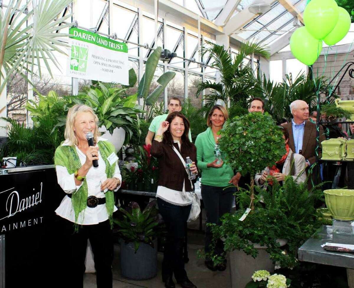 Shirley Nichols of the Darien Land Trust addresses the crowd at last year's first annual St. Patricks Day event at Nielsen's Florist.